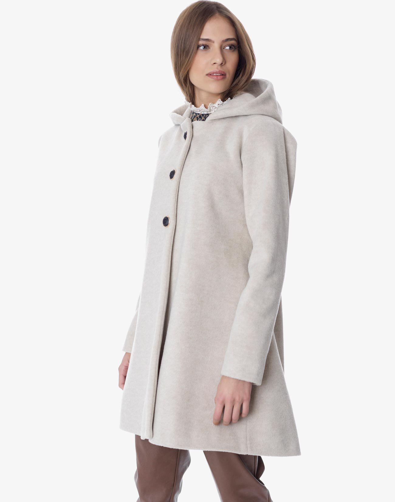 Coat with hood and bow