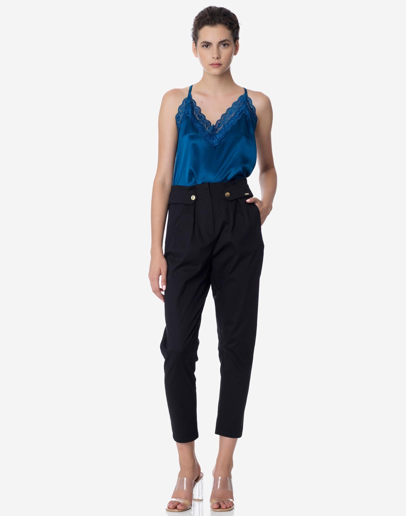 High-waist trousers with buttons