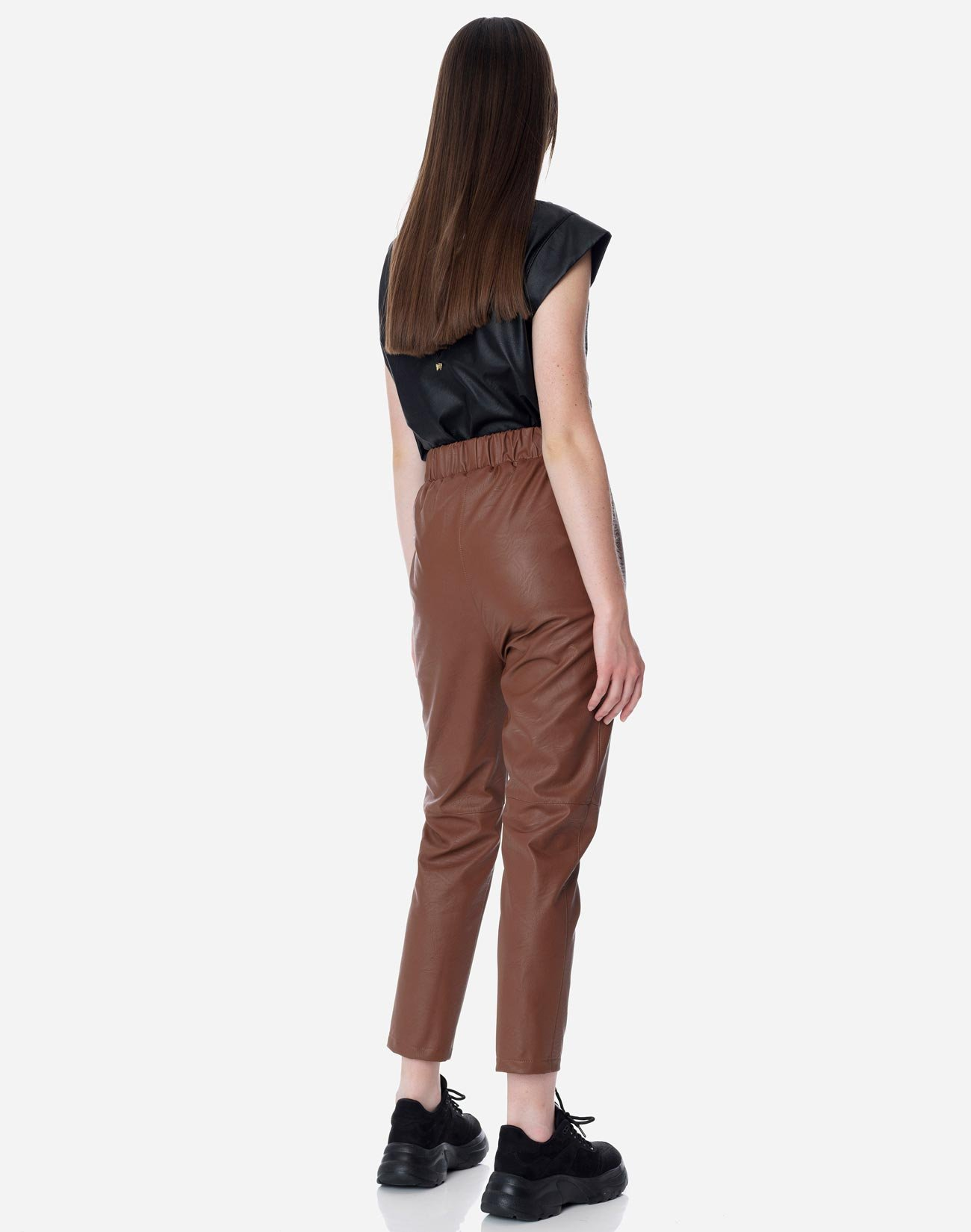 Faux leather trousers with seam detail
