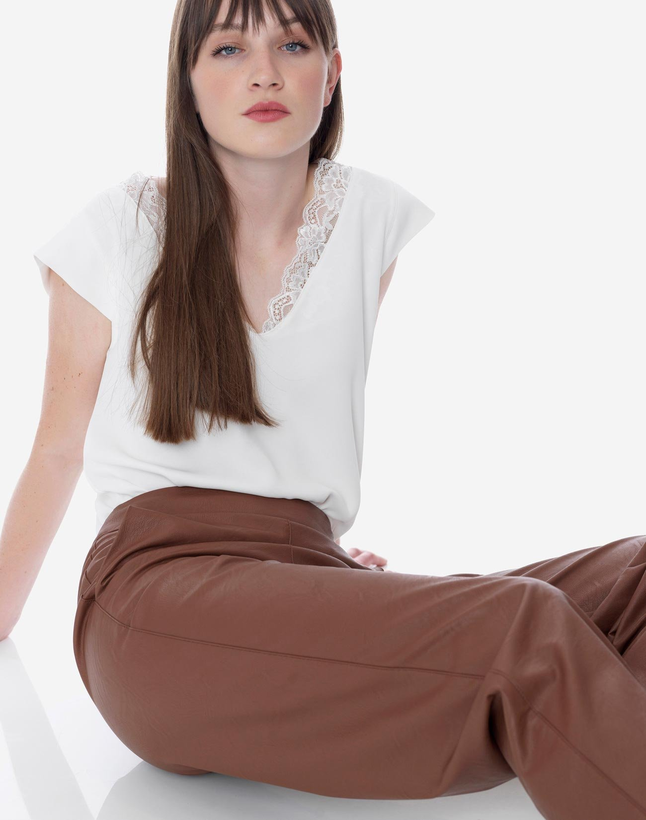 High-waist faux leather trousers