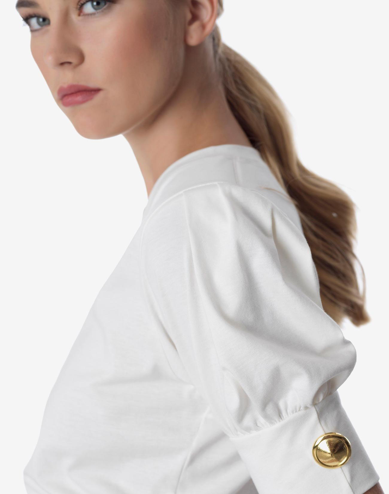 Μπλούζα οργανικό βαμβάκι με φουσκωτό μανίκι