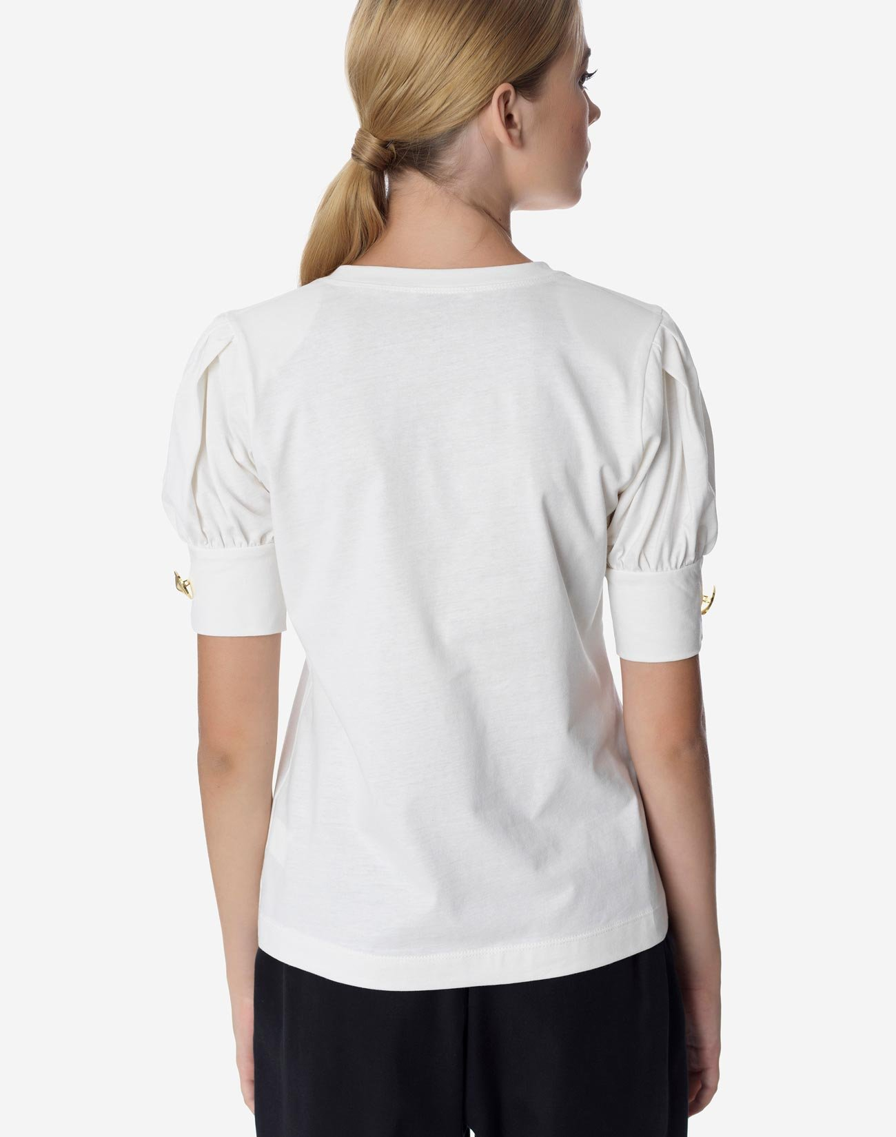 Organic cotton top with puff sleeve