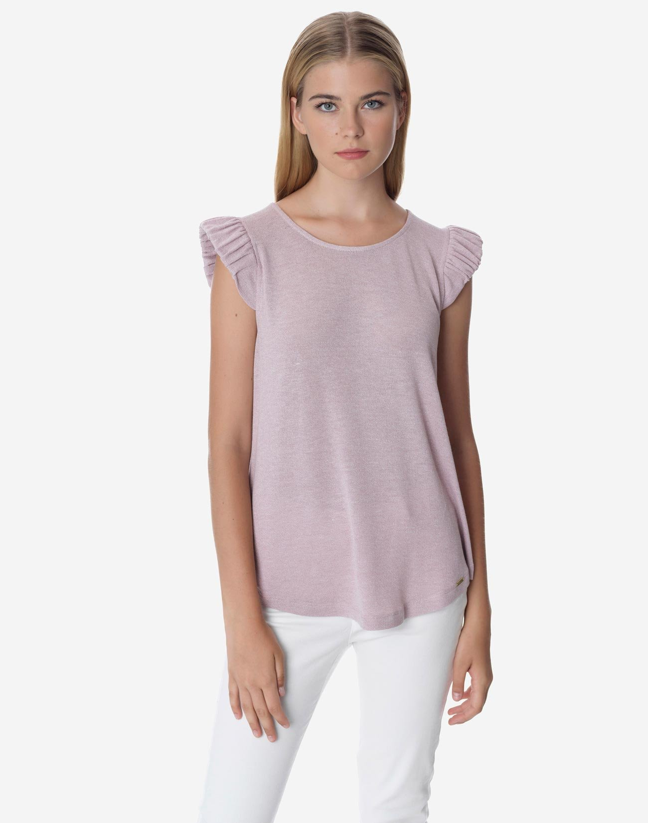 Top with gathered sleeves