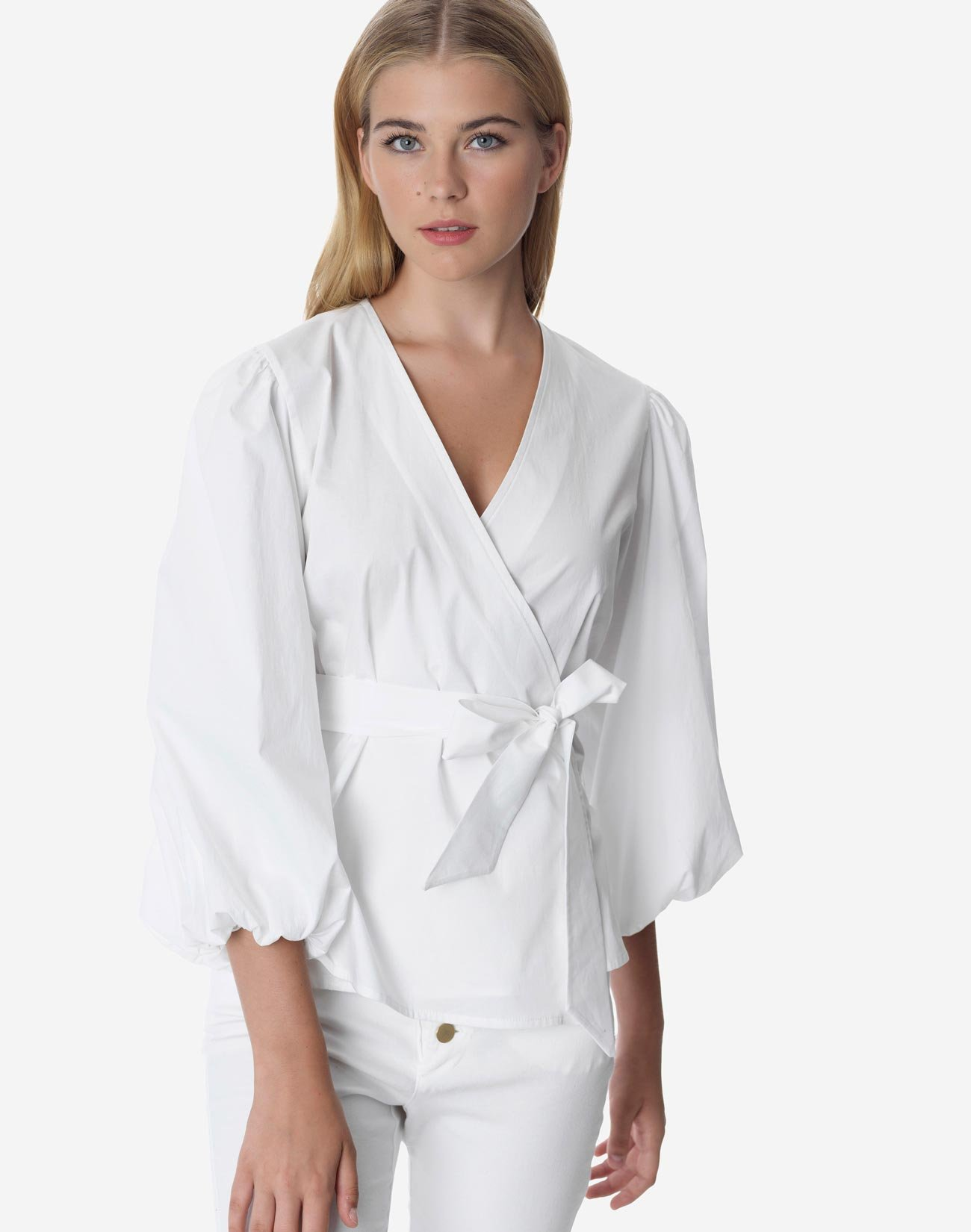 Wrap shirt with puff sleeve