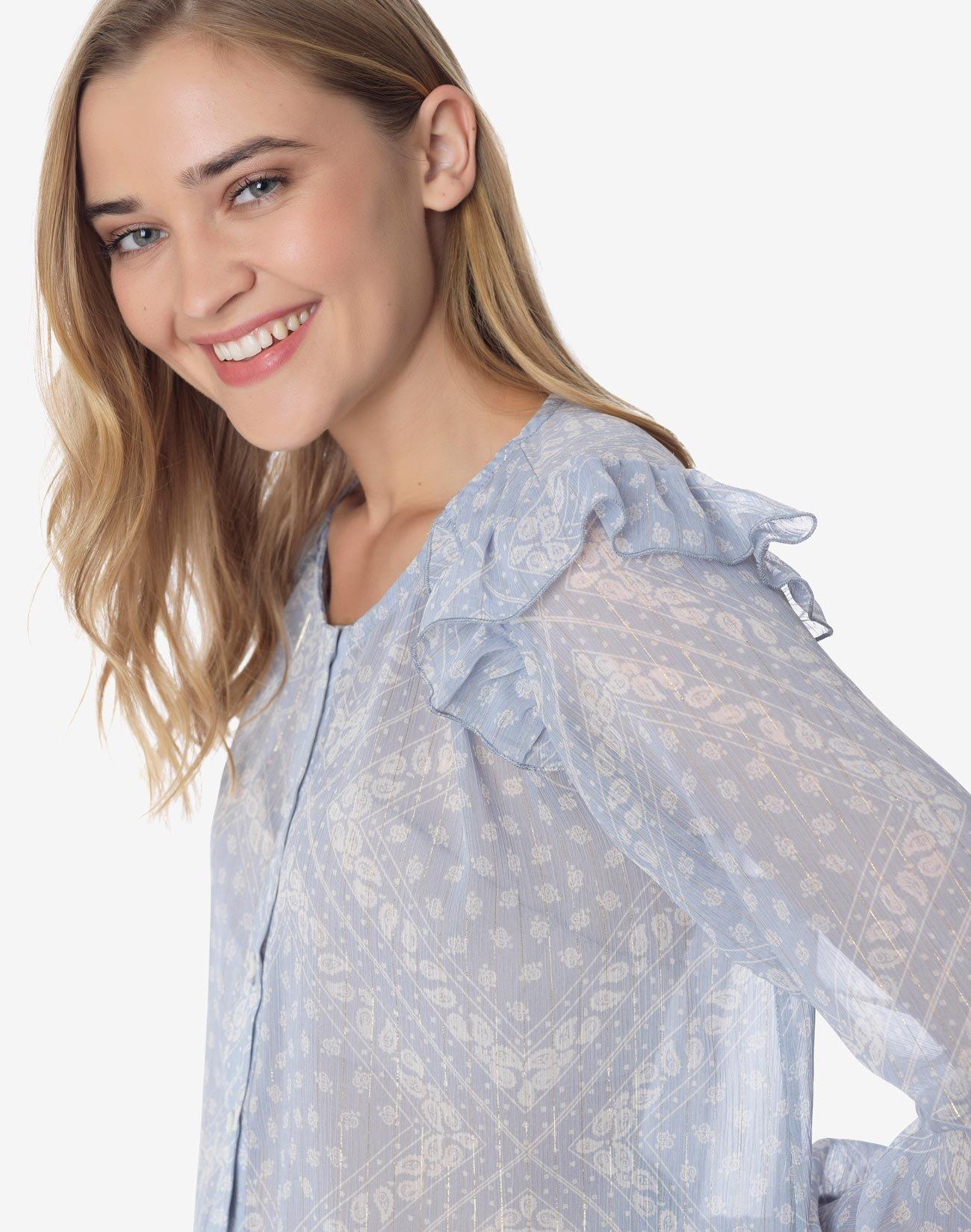 Printed shirt with ruffles