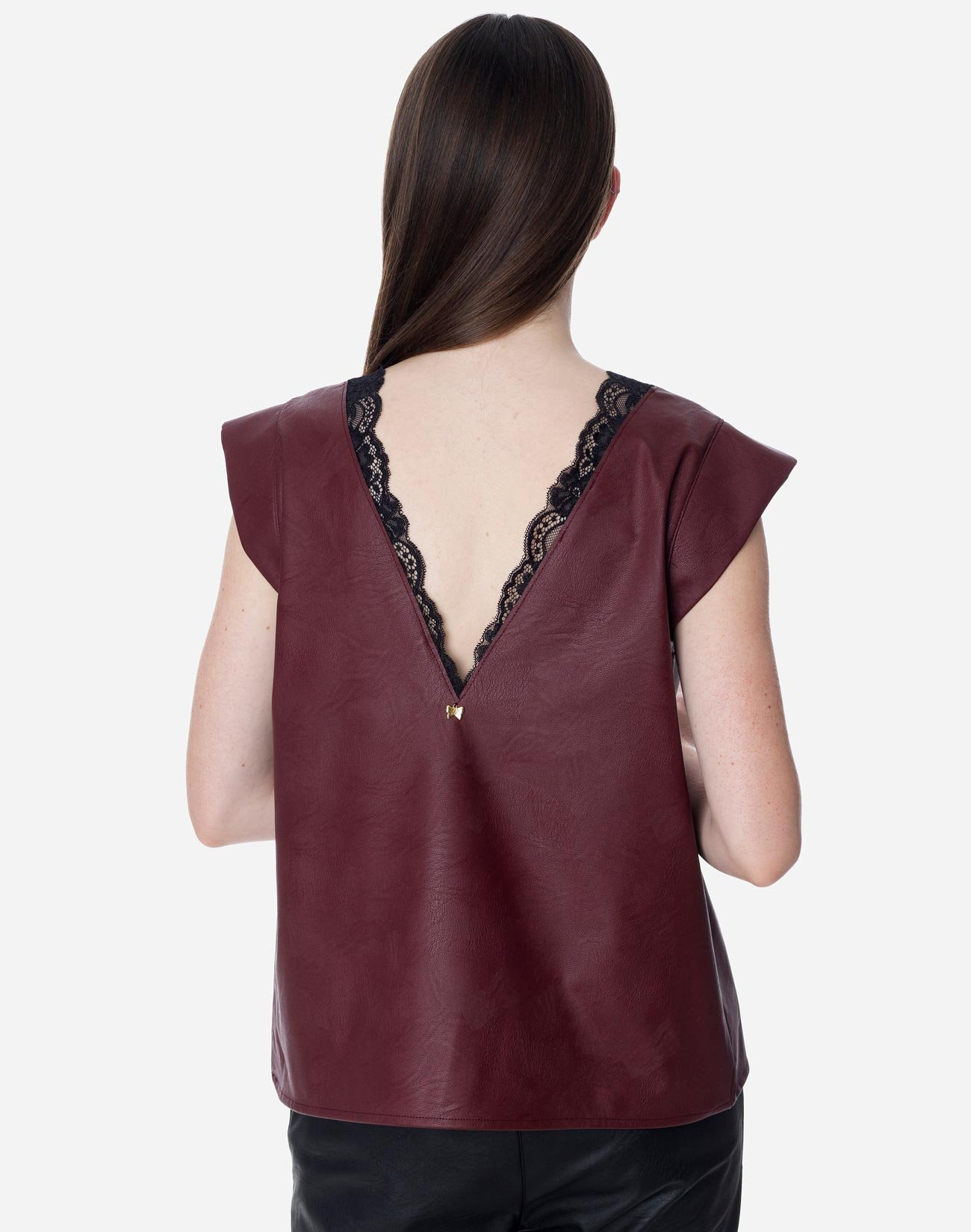 Faux leather top with lace