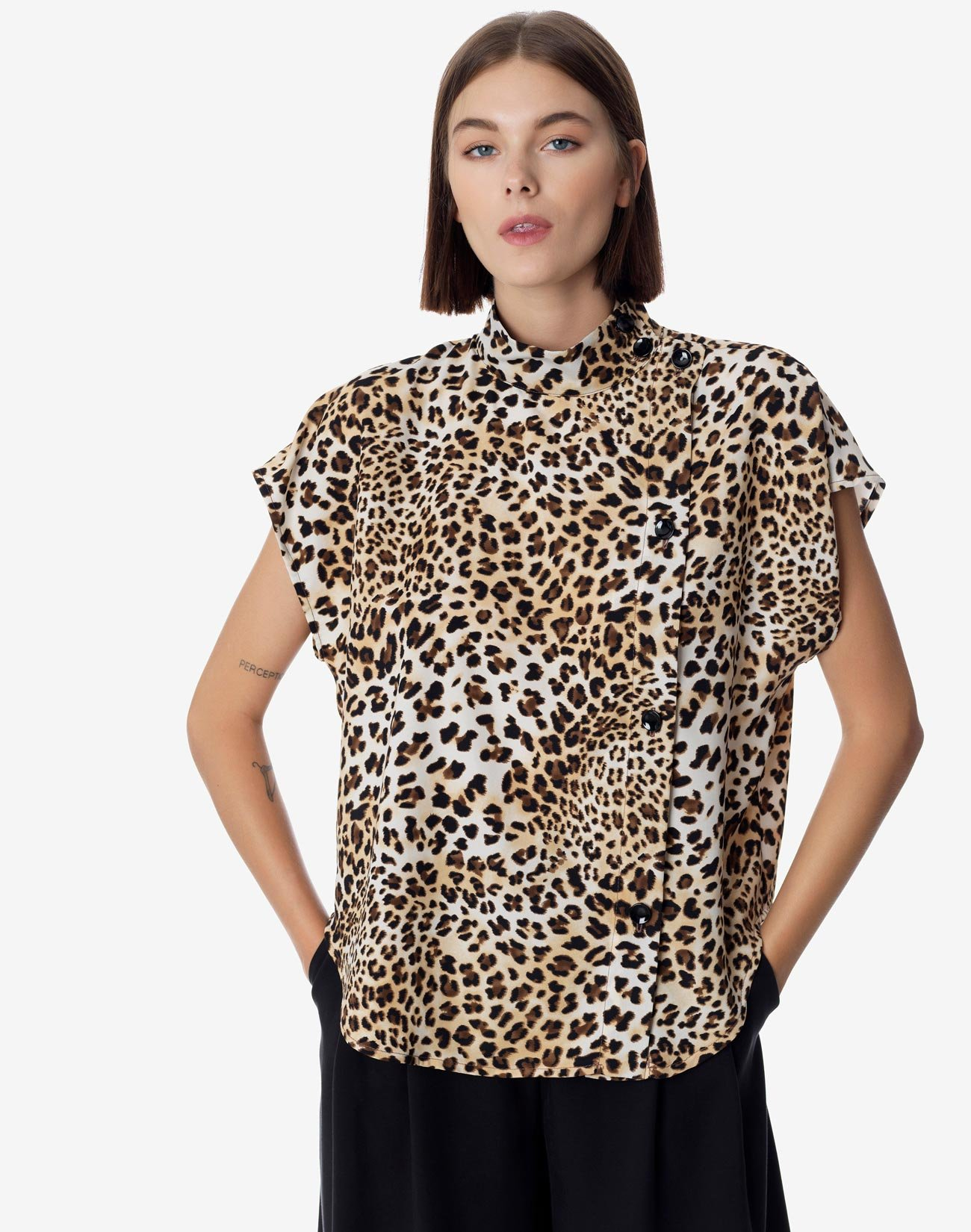 Animal print top with buttons