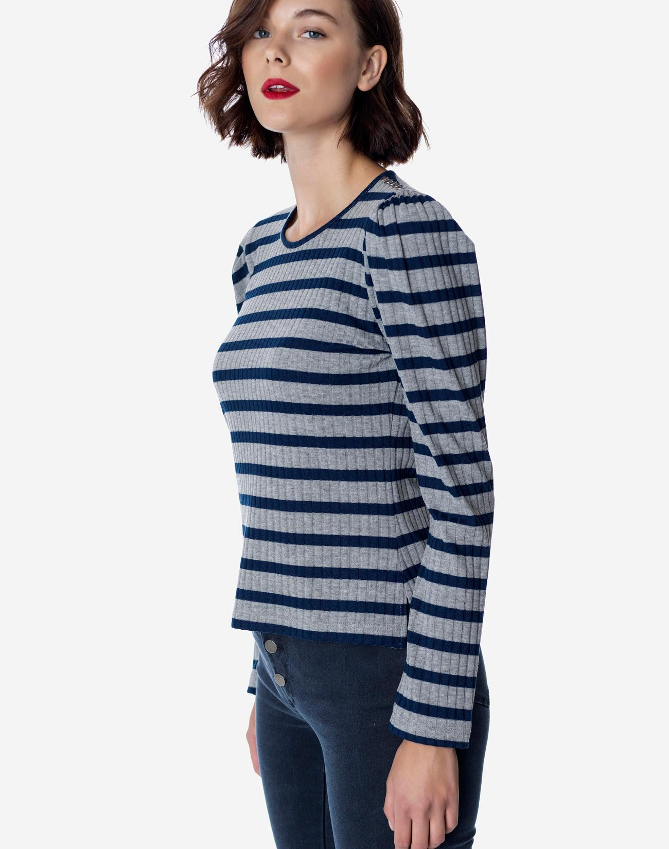 Striped top with buttons