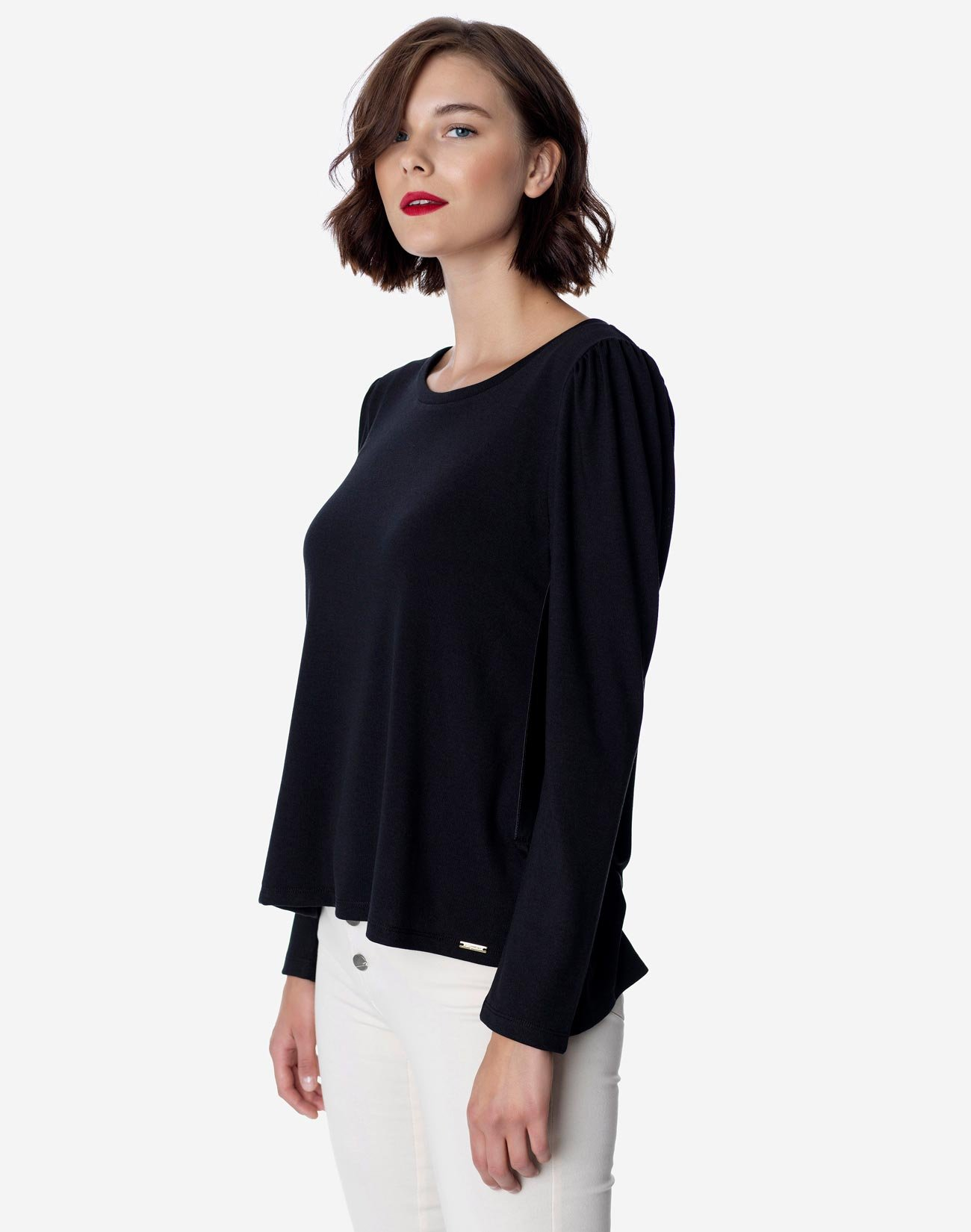 Top with faux leather detail