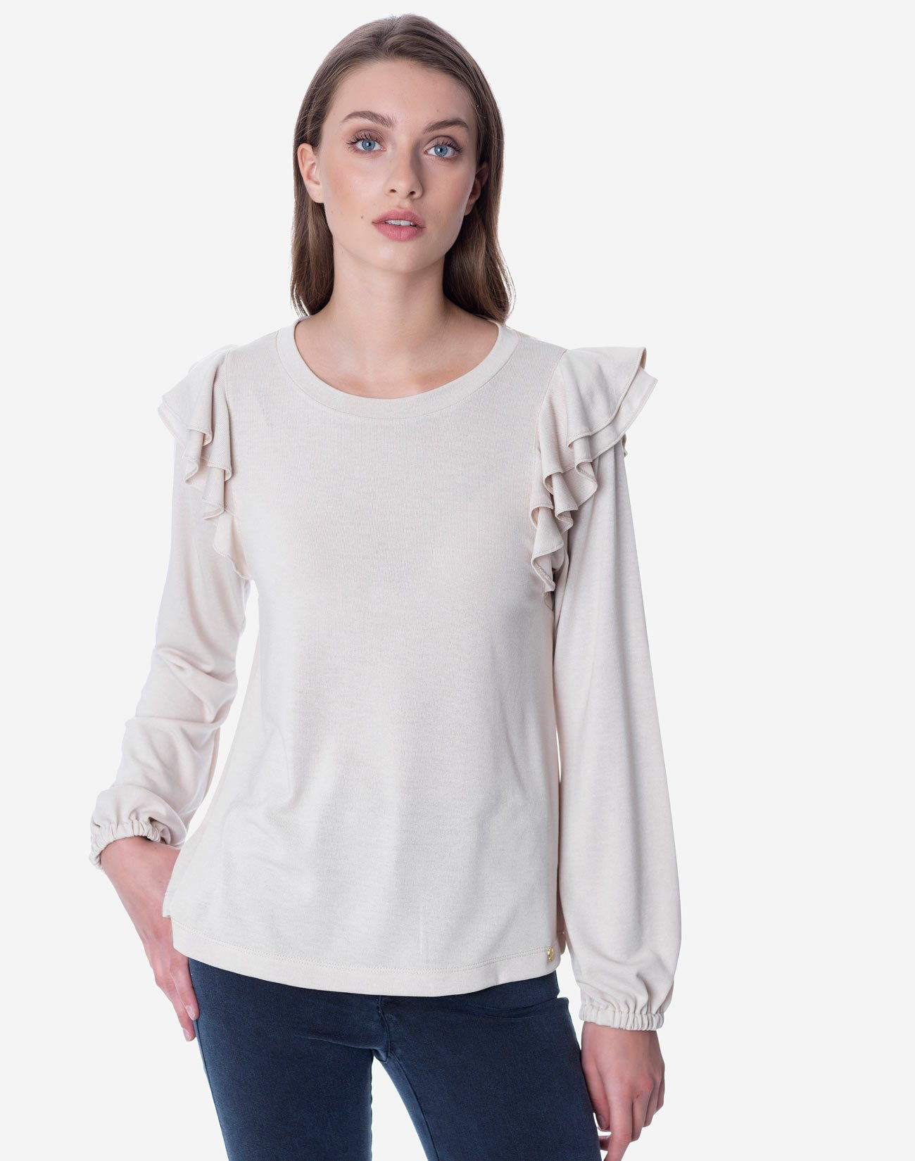 Μπλούζα με διπλό βολάν