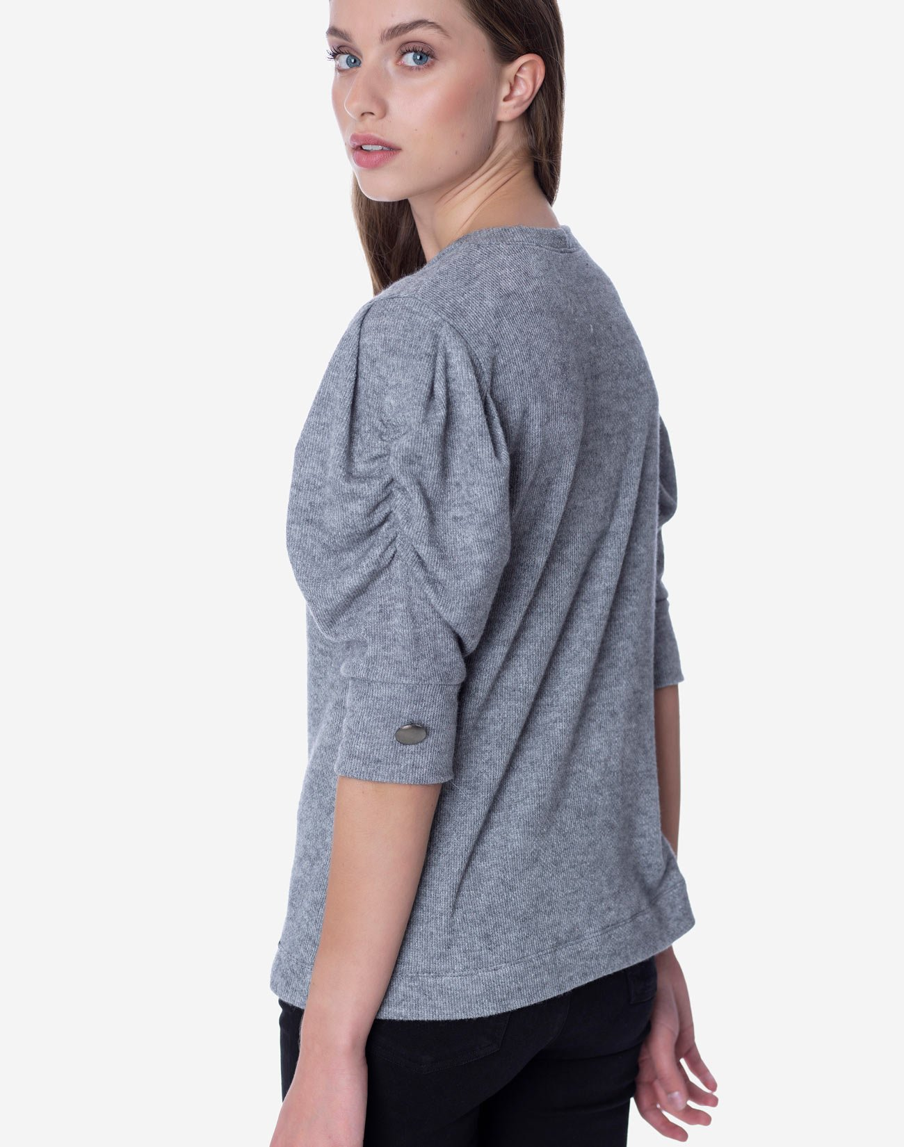 Top with pleated sleeves