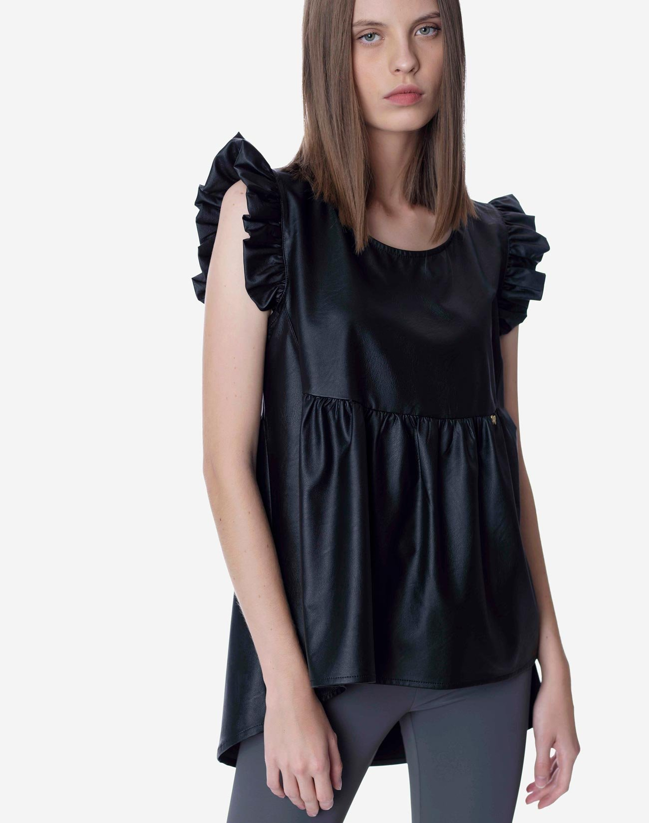 Faux leather top with ruffles