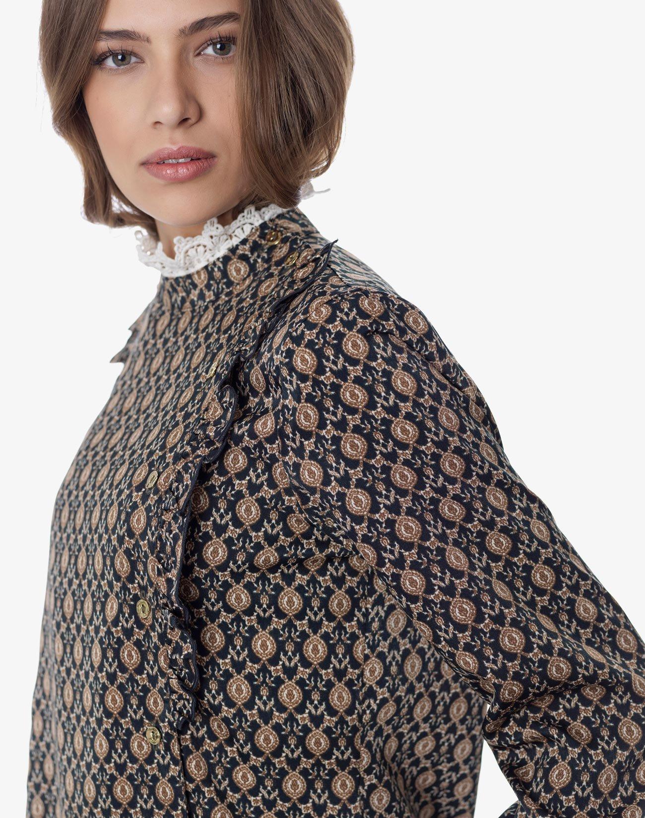 Εμπριμέ μπλούζα με δαντέλα