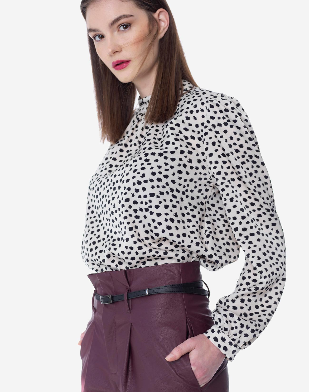Printed top with high neck