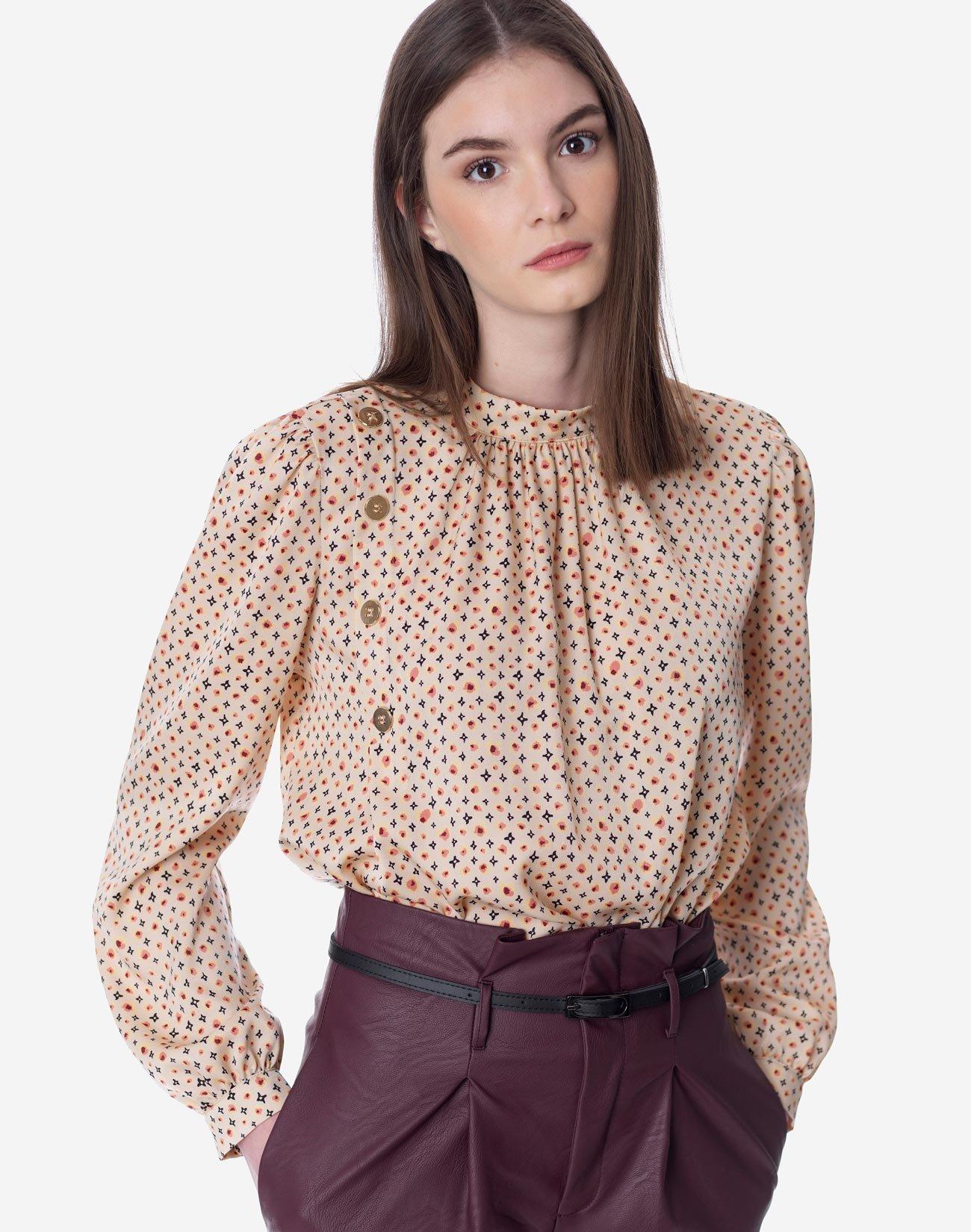 Εμπριμέ μπλούζα με όρθιο γιακά