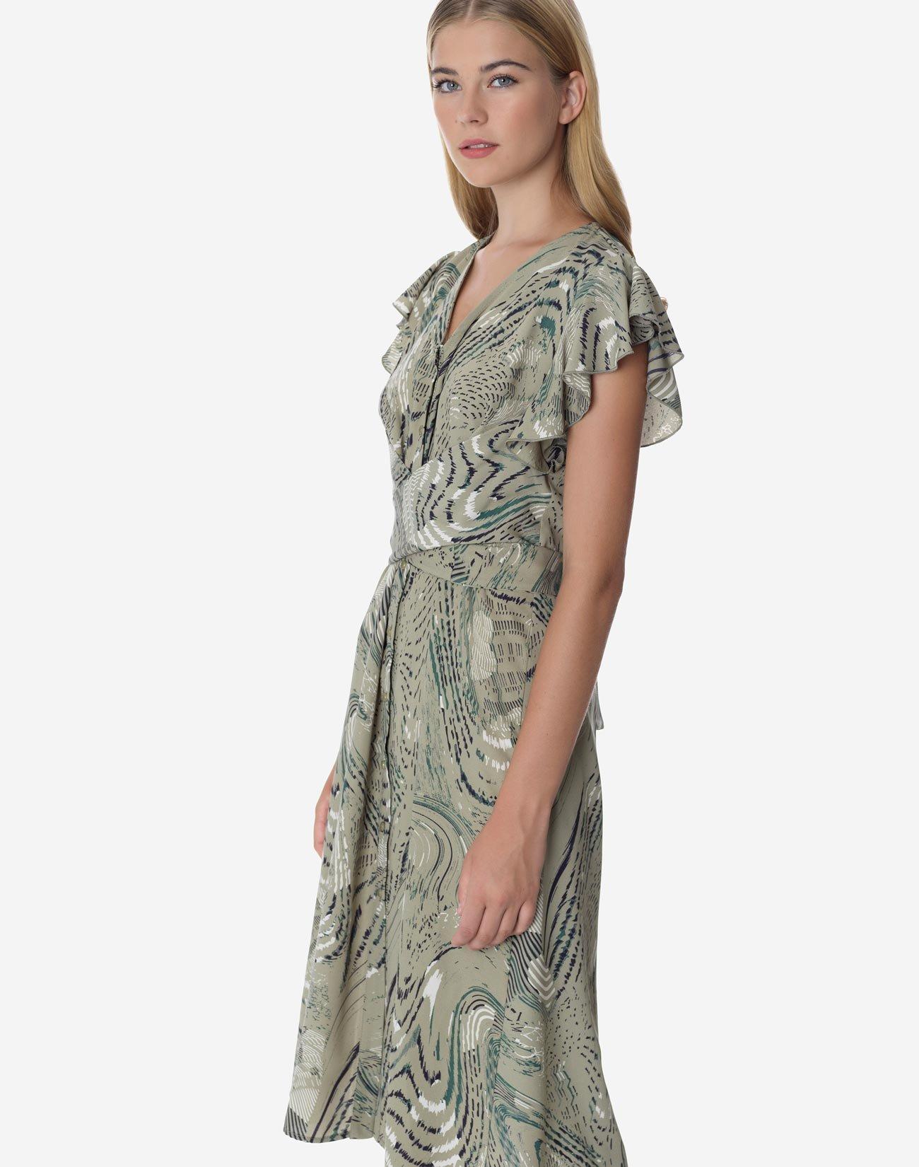 Εμπριμέ φόρεμα με ζώνη