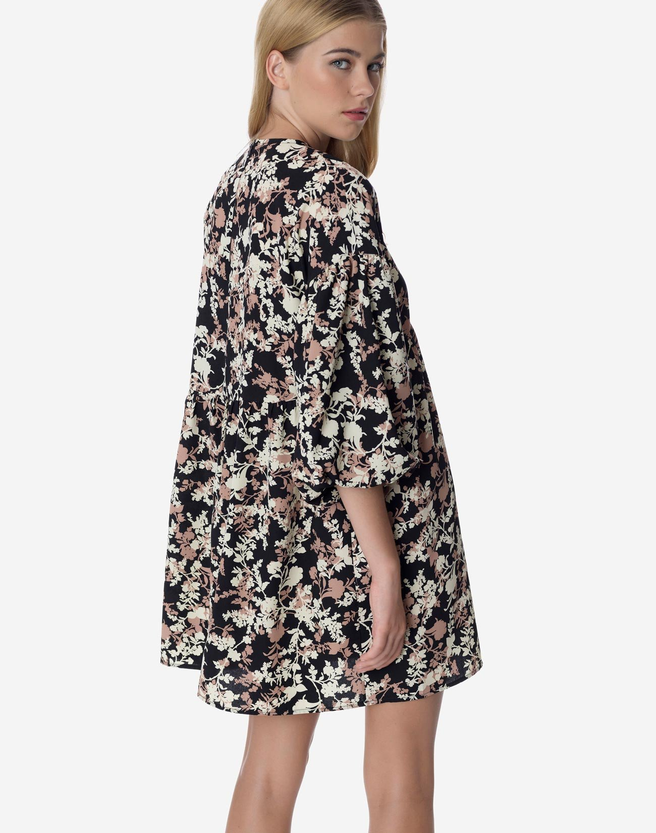 Printed mini dress with puff sleeves