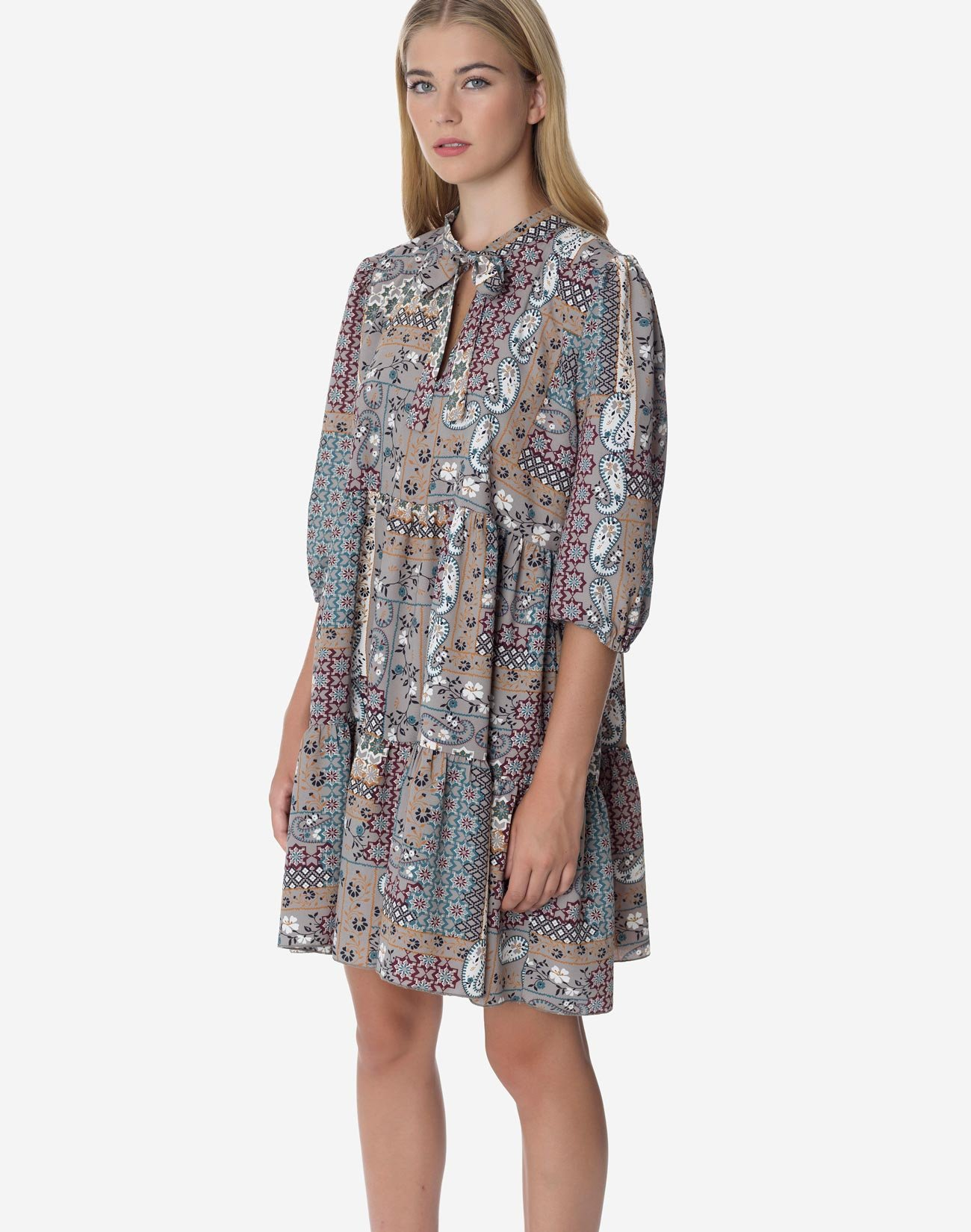 Printed mini dress with tie