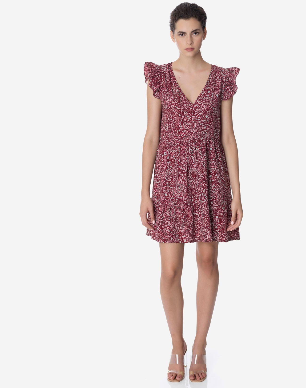 Mini printed dress with ruffles