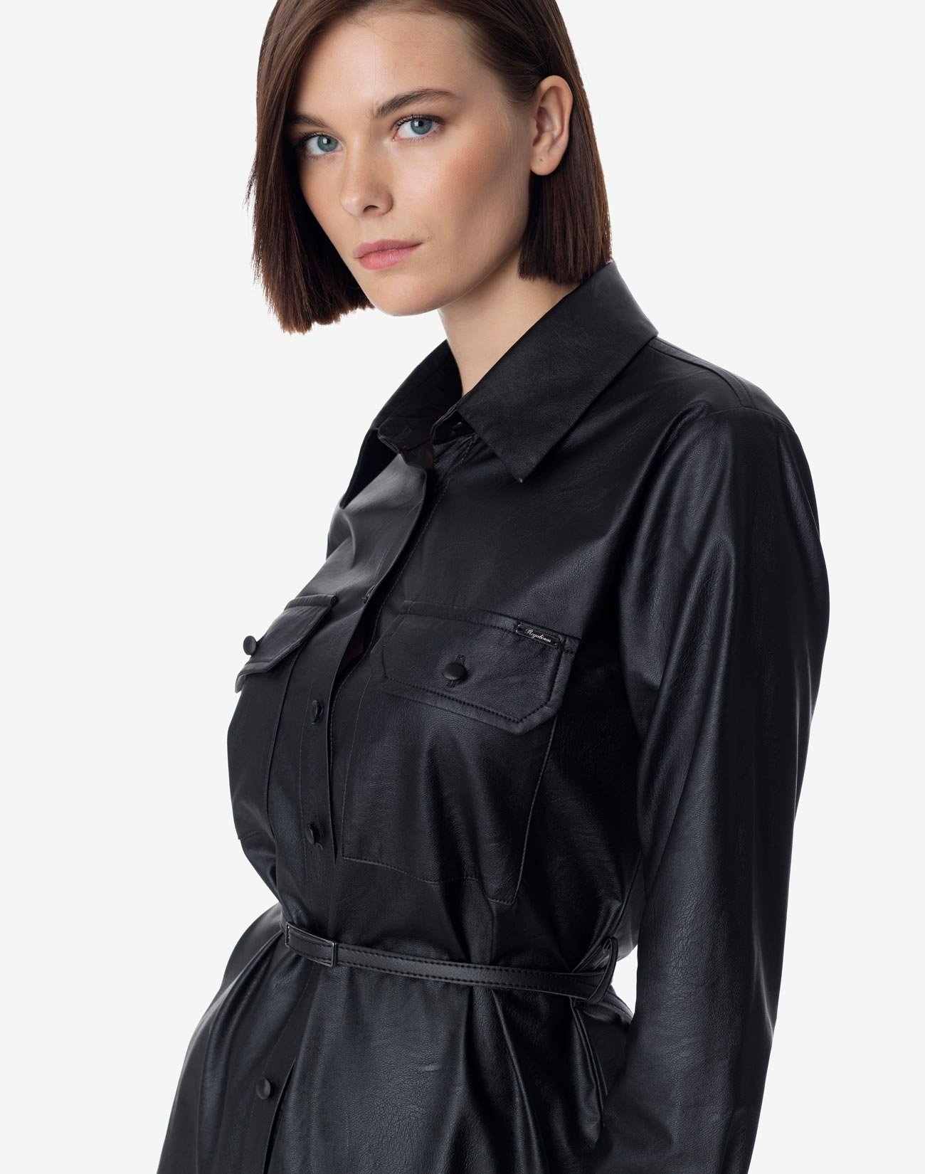 Φόρεμα δερματίνης με κουμπιά