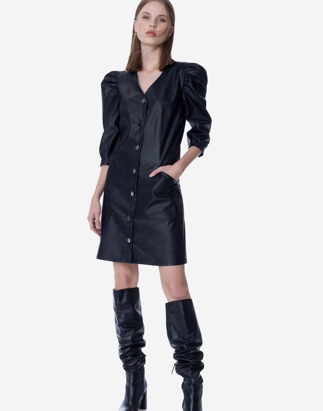Mini faux leather dress