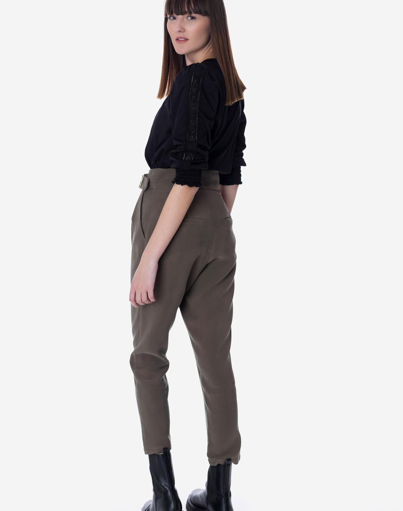 High waist pleated trousers