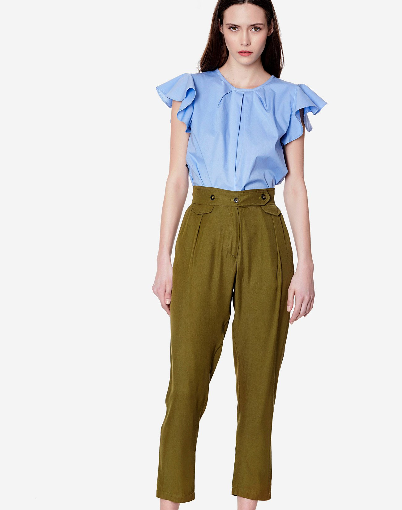 High waist trousers with buttons