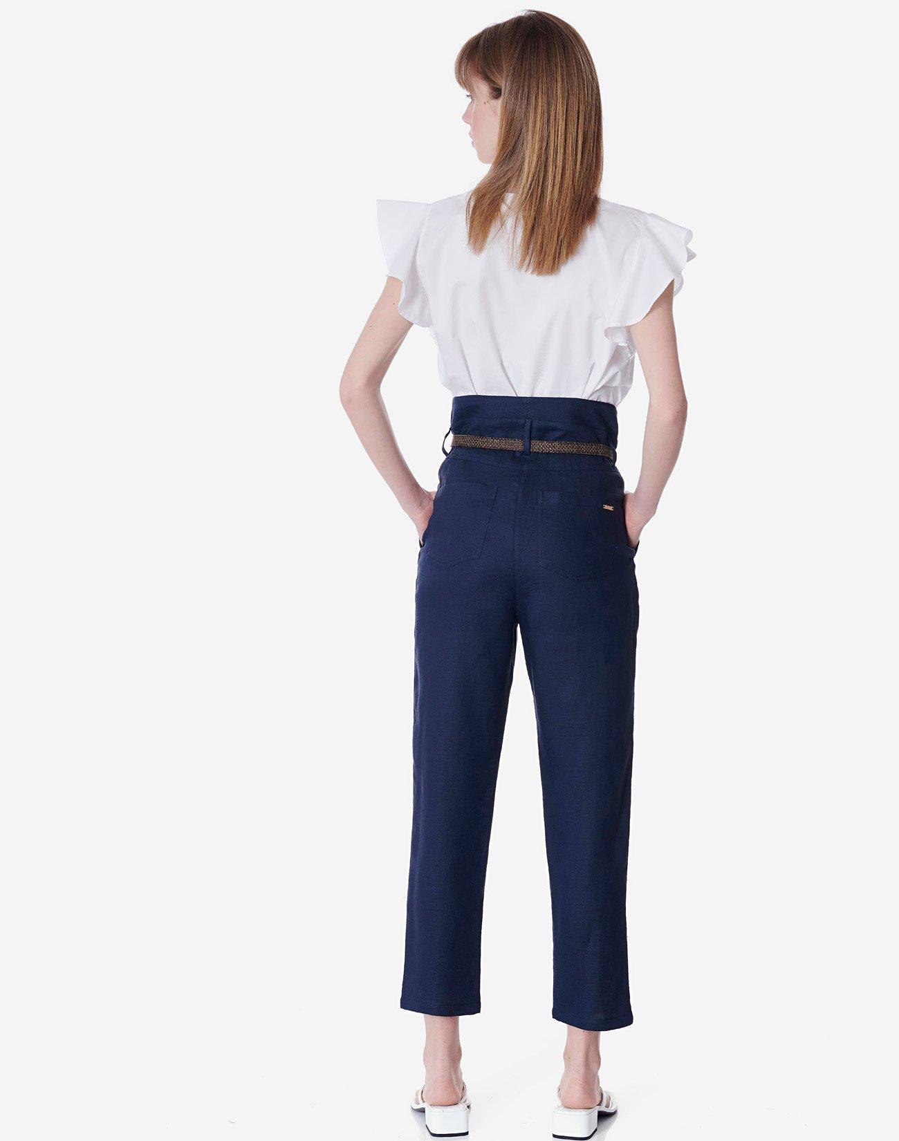 Λινό παντελόνι με πιέτες