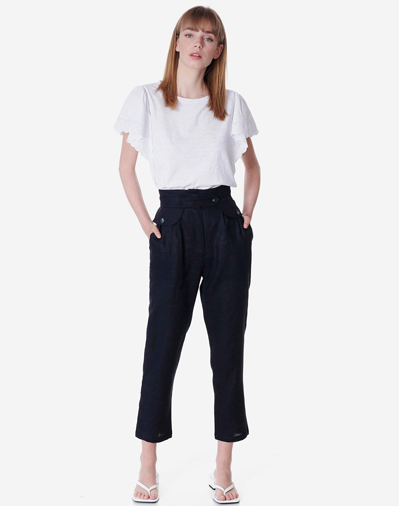 Λινό ψηλόμεσο παντελόνι
