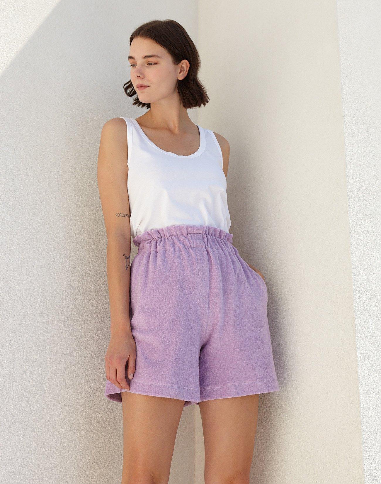 Towel shorts with elastic waist
