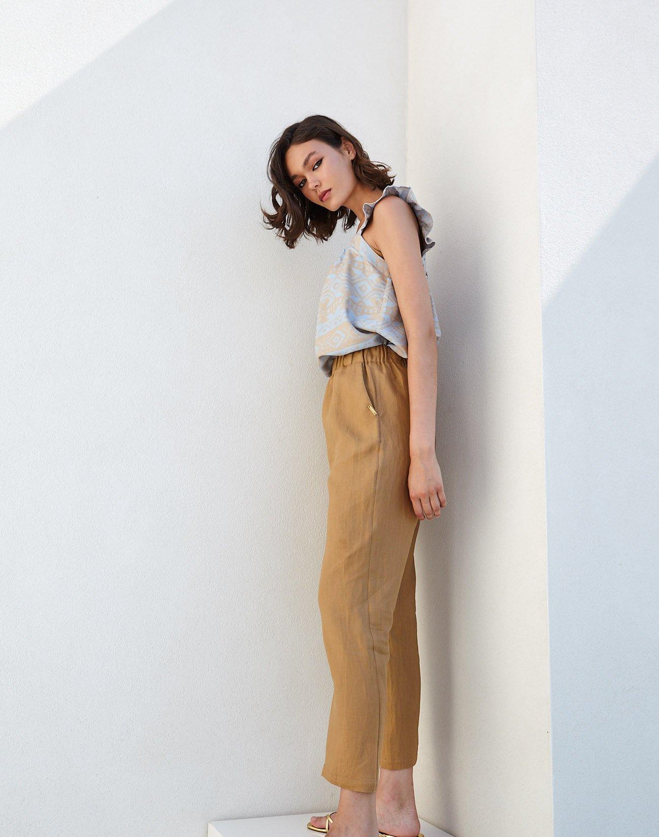 Λινό παντελόνι με λάστιχο στη μέση