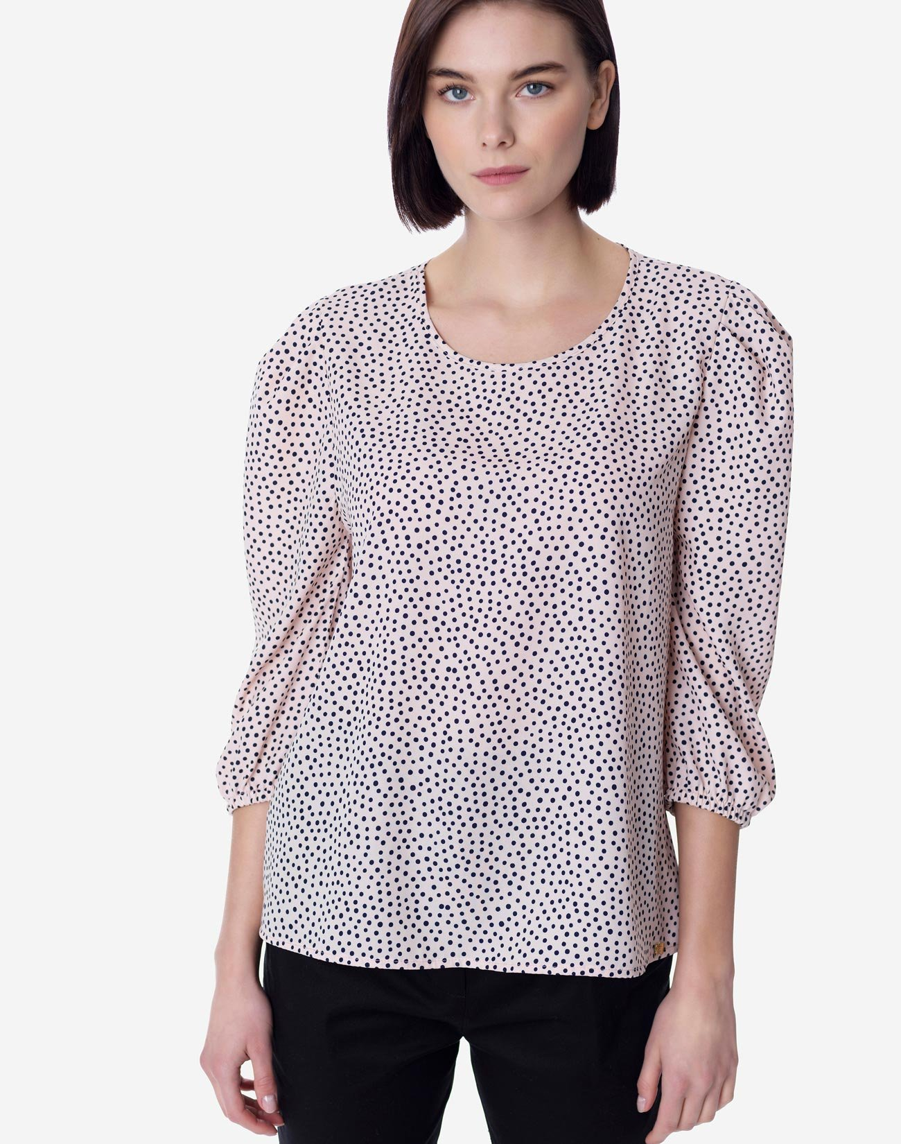 Polka dot blouse with bow