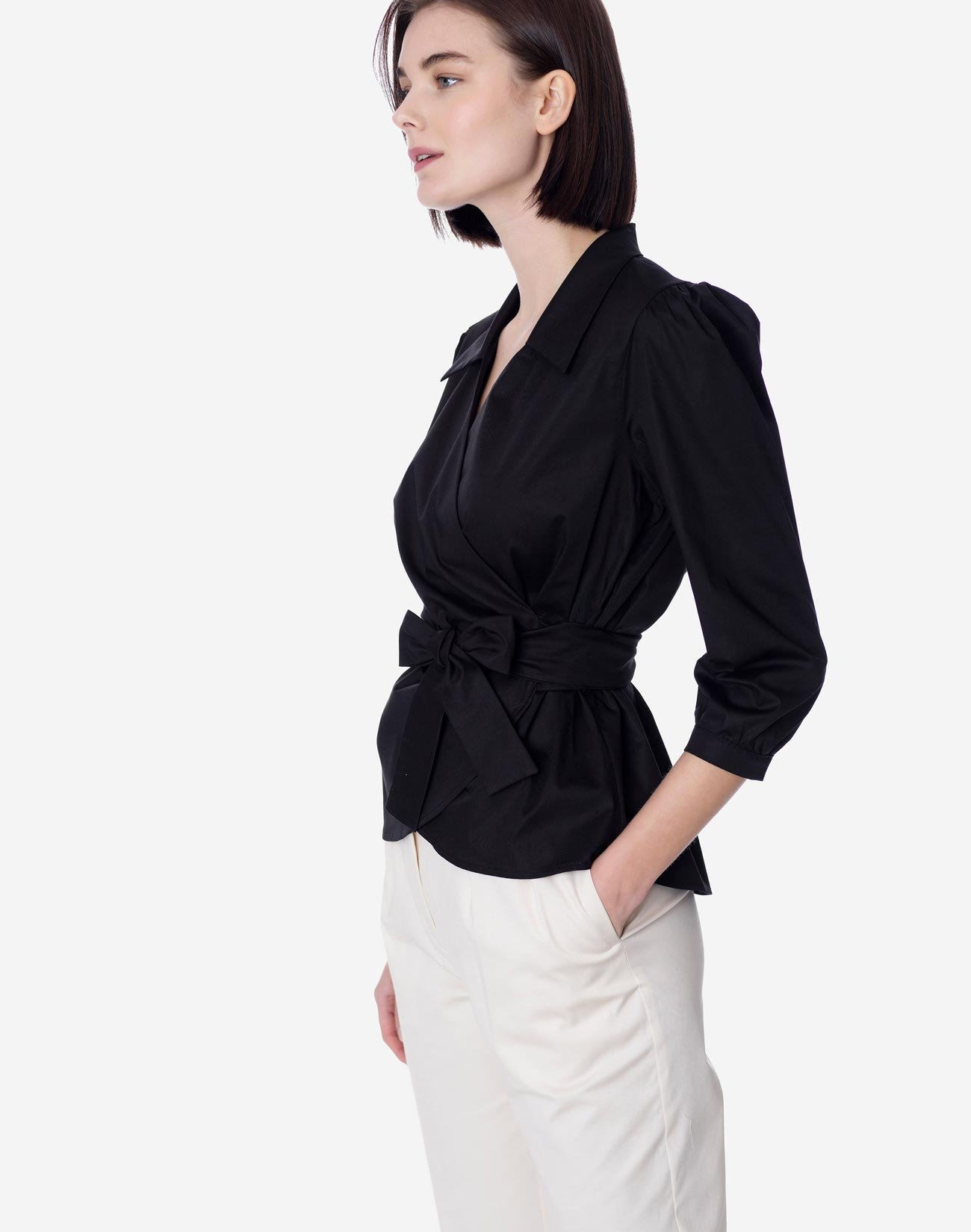 Wrap shirt with tie