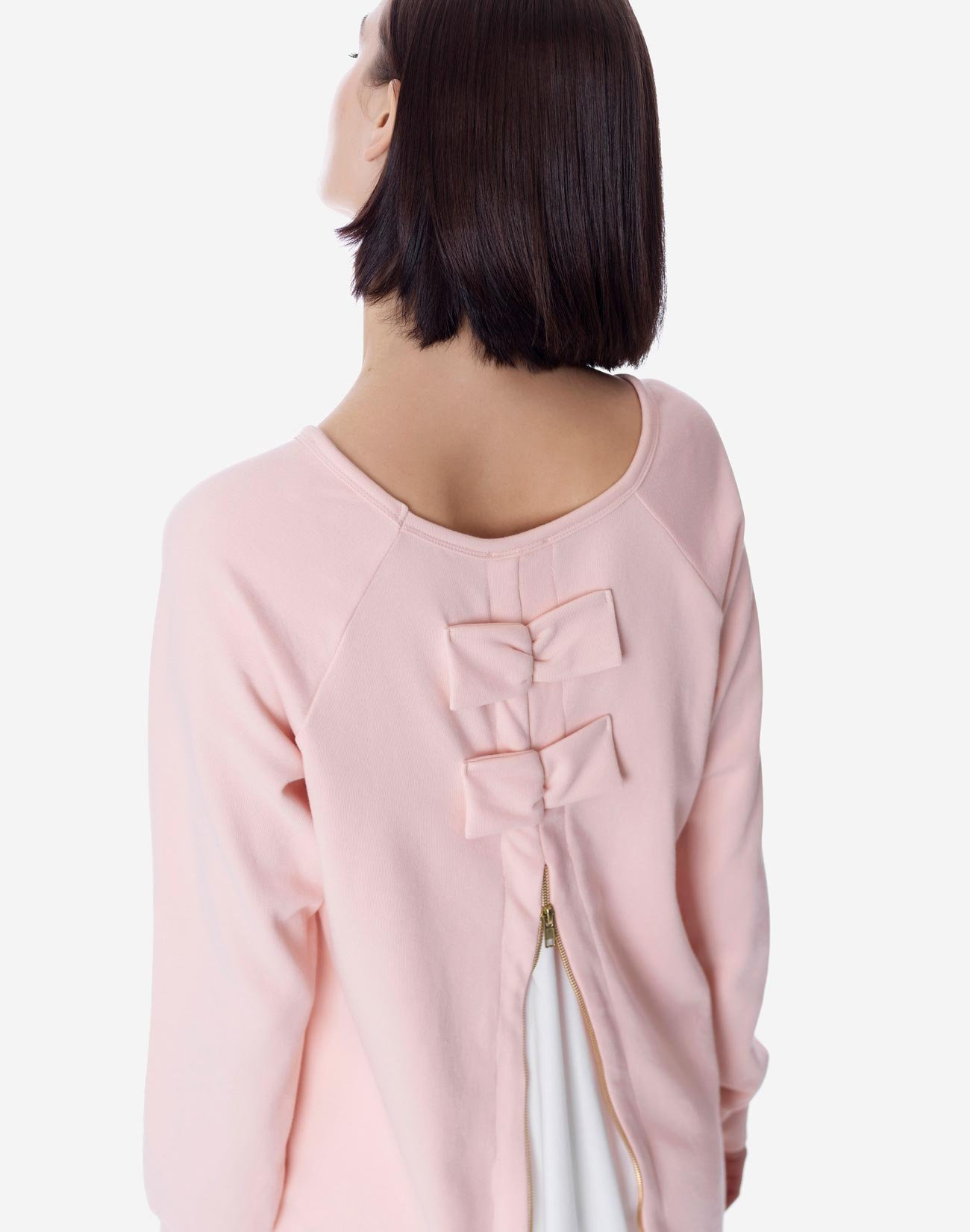 Sweatshirt with zip and bows