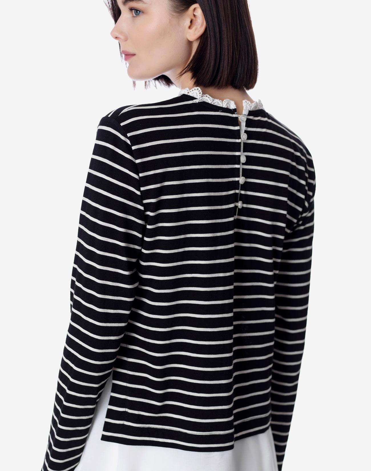 Ριγέ μπλούζα με λεπτομέρεια δαντέλα