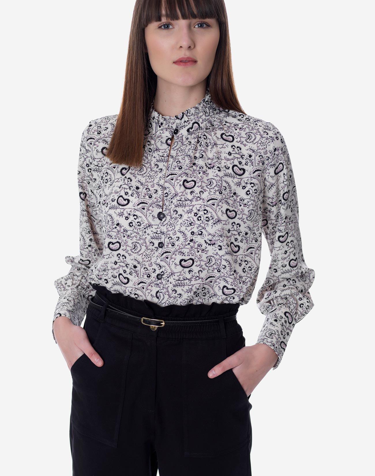 Εμπριμέ πουκάμισο με γιακά βολάν