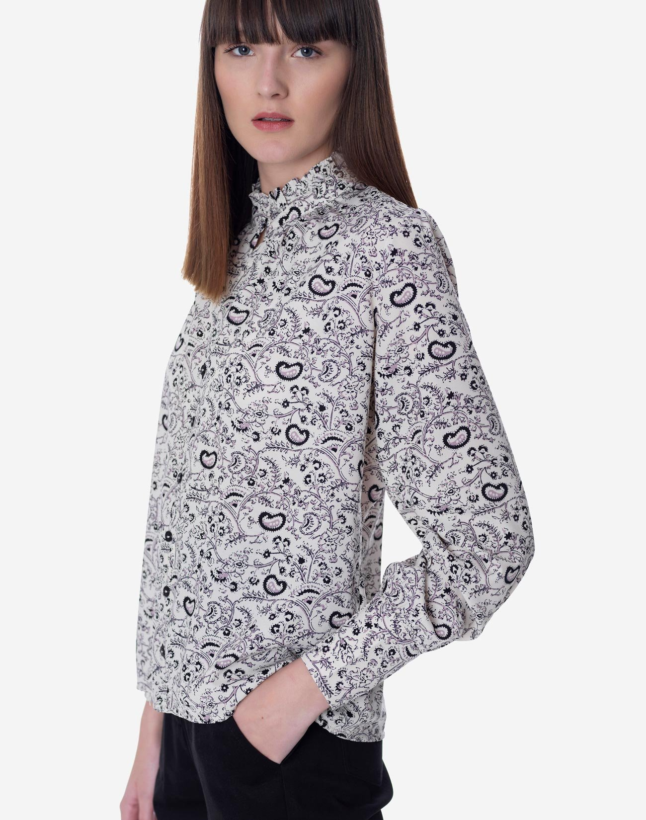 Printed shirt with ruffled neck