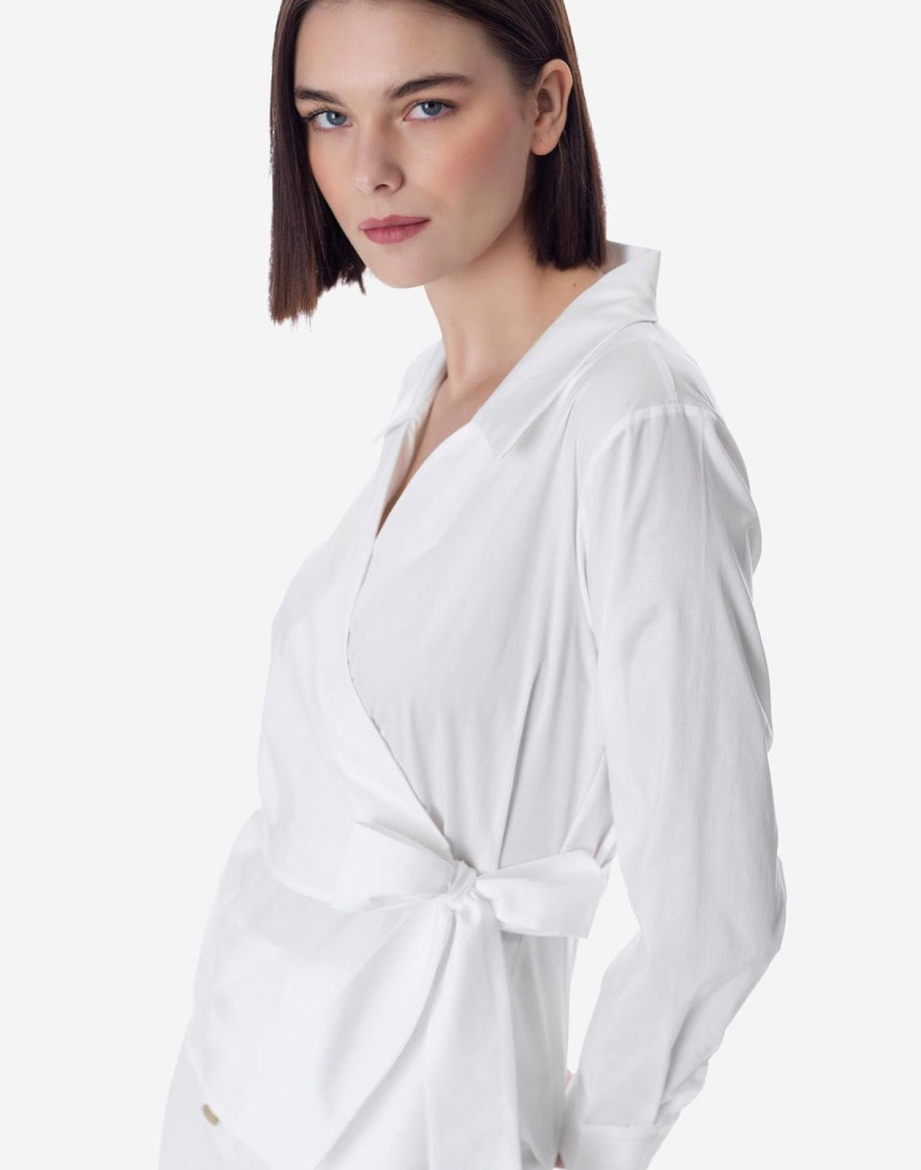 Wrap shirt with bow