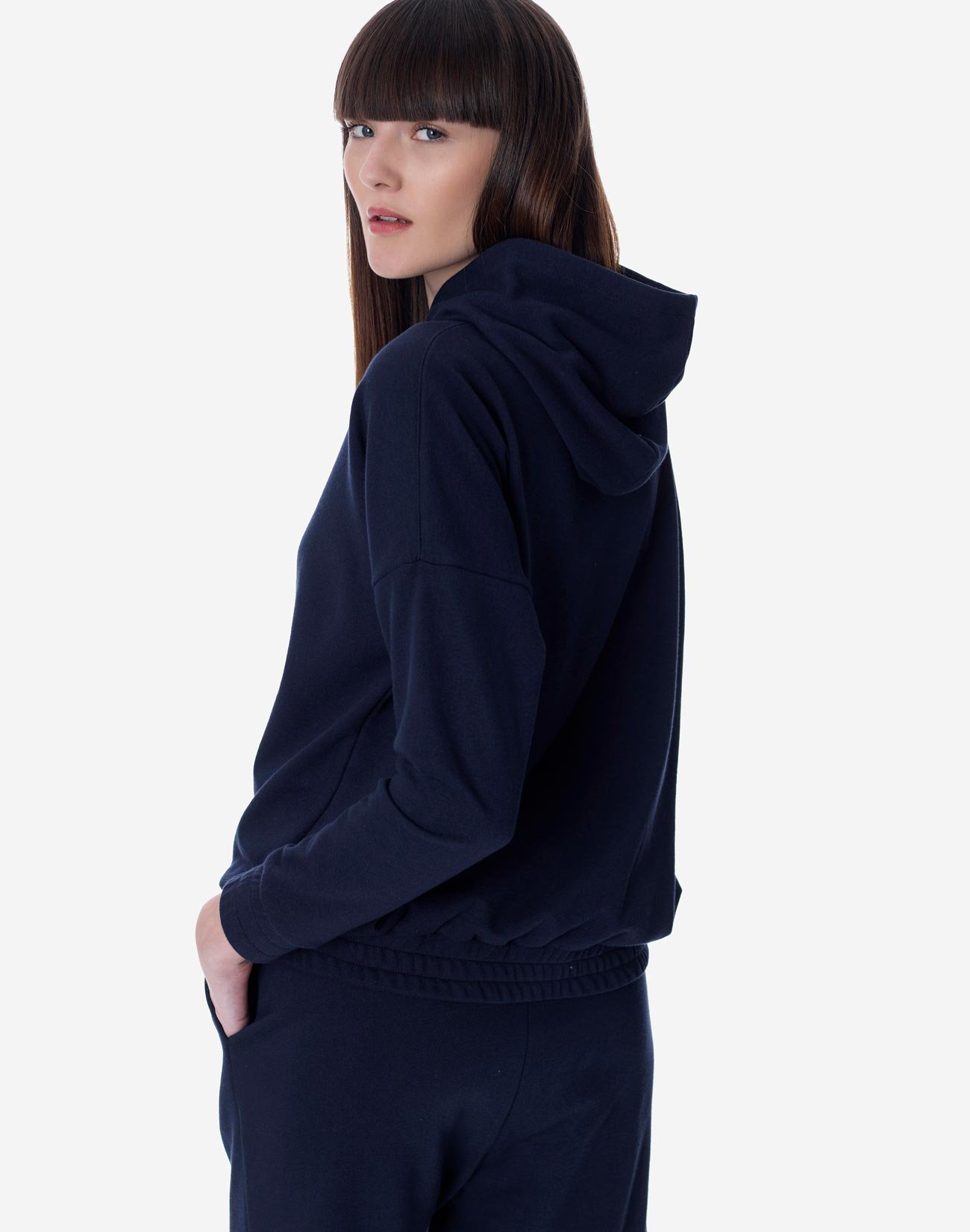 Hoodie with ribbed trims