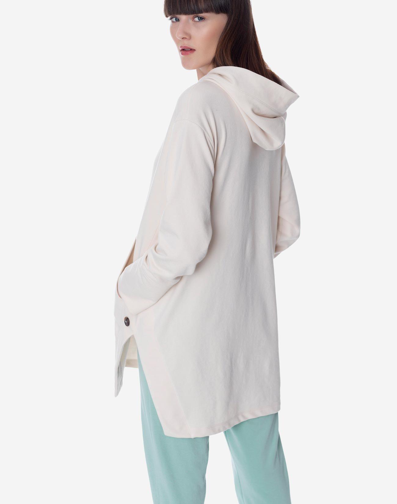 Hooded sweatshirt with openings