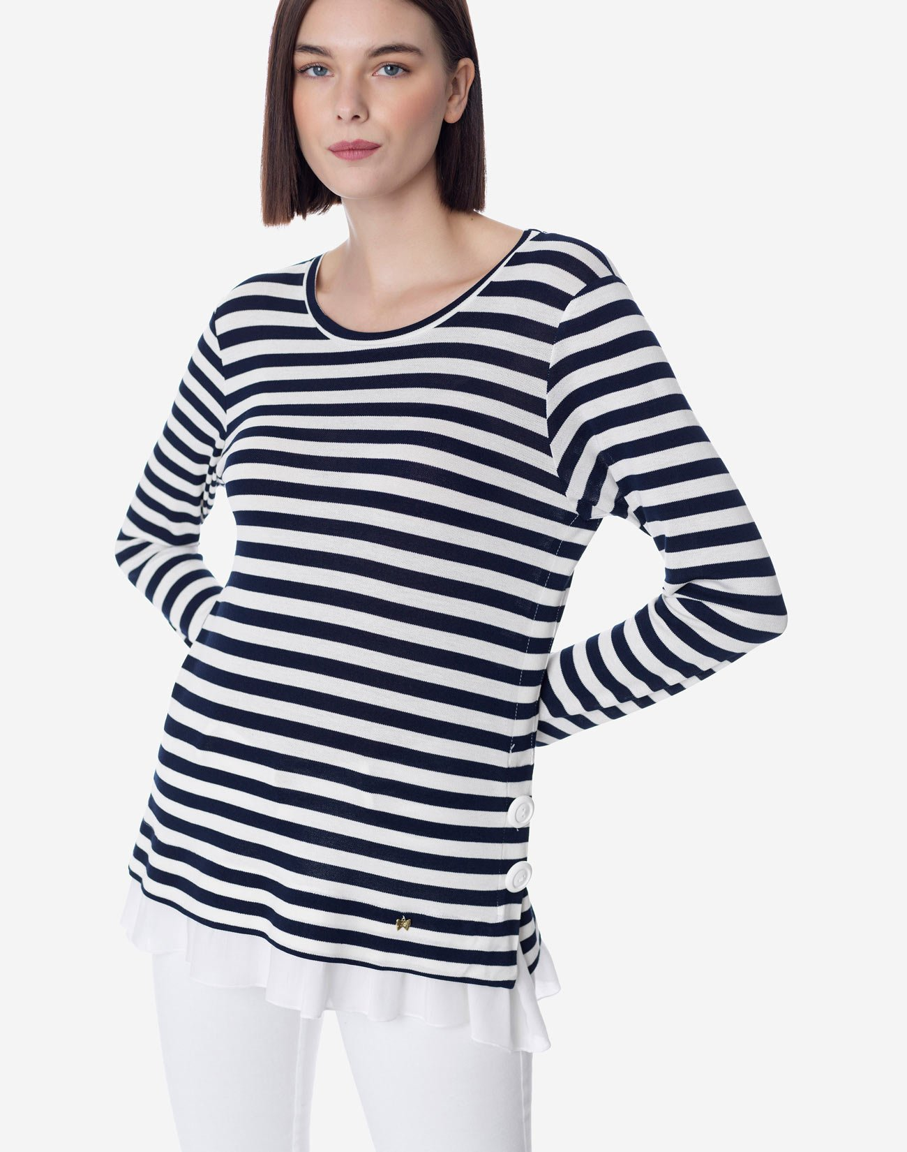 Striped top with ruffle hem