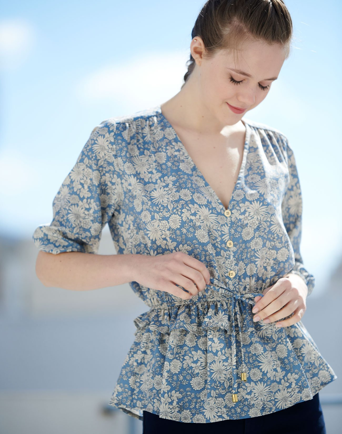 Floral top with gathered waist