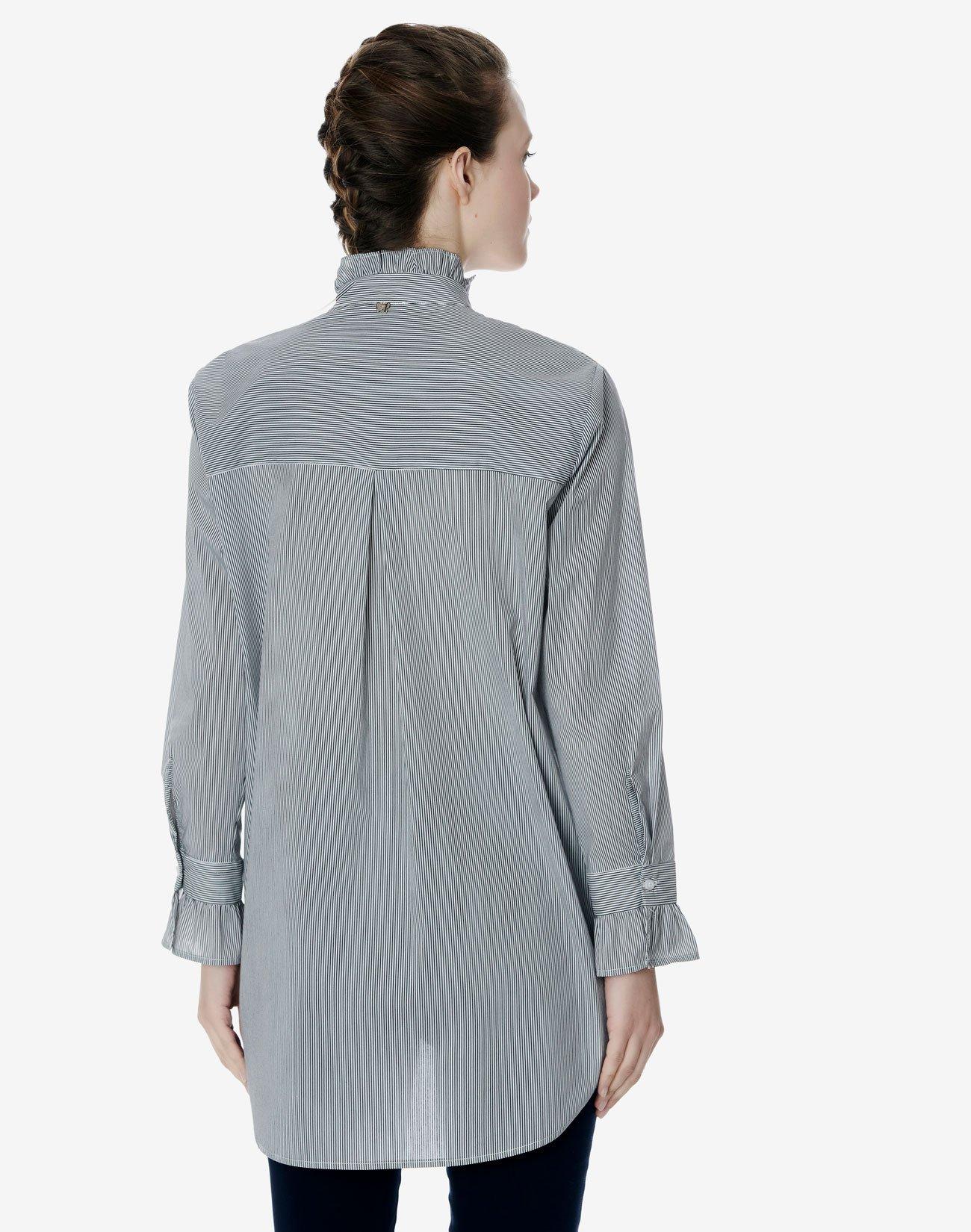 Ριγέ πουκάμισο με βολάν