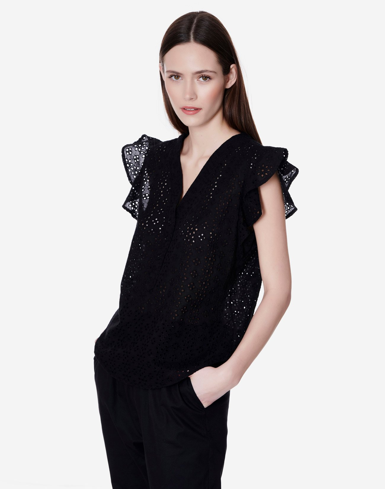 Top with cutwork detail