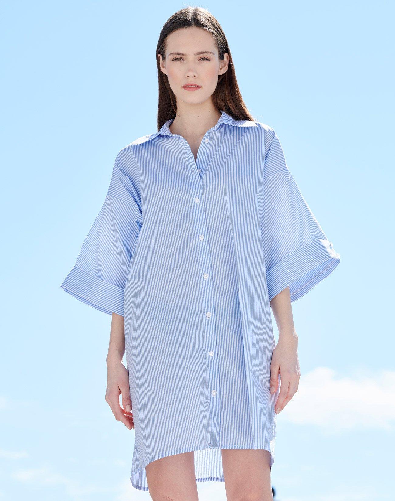 Ριγέ oversized φόρεμα πουκαμίσα