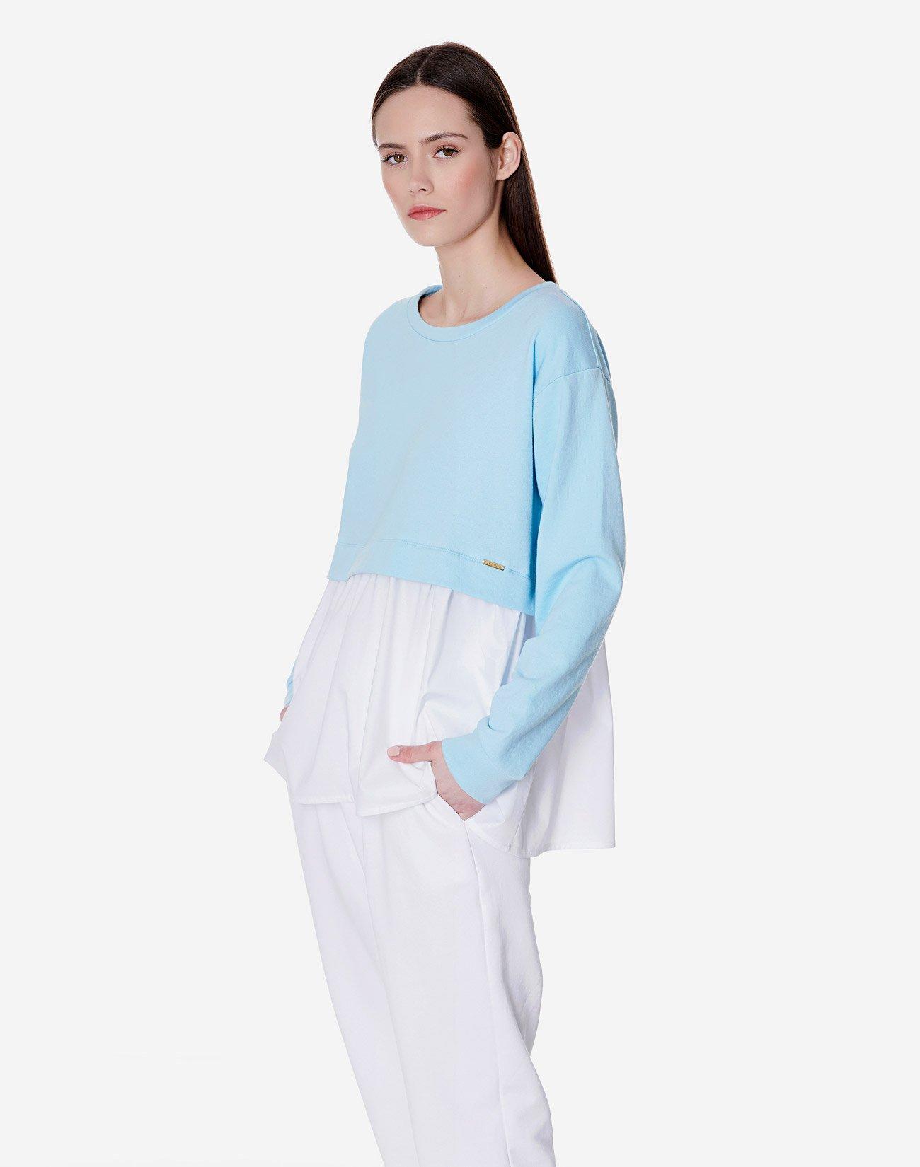 Sweatshirt with contrast ruffle