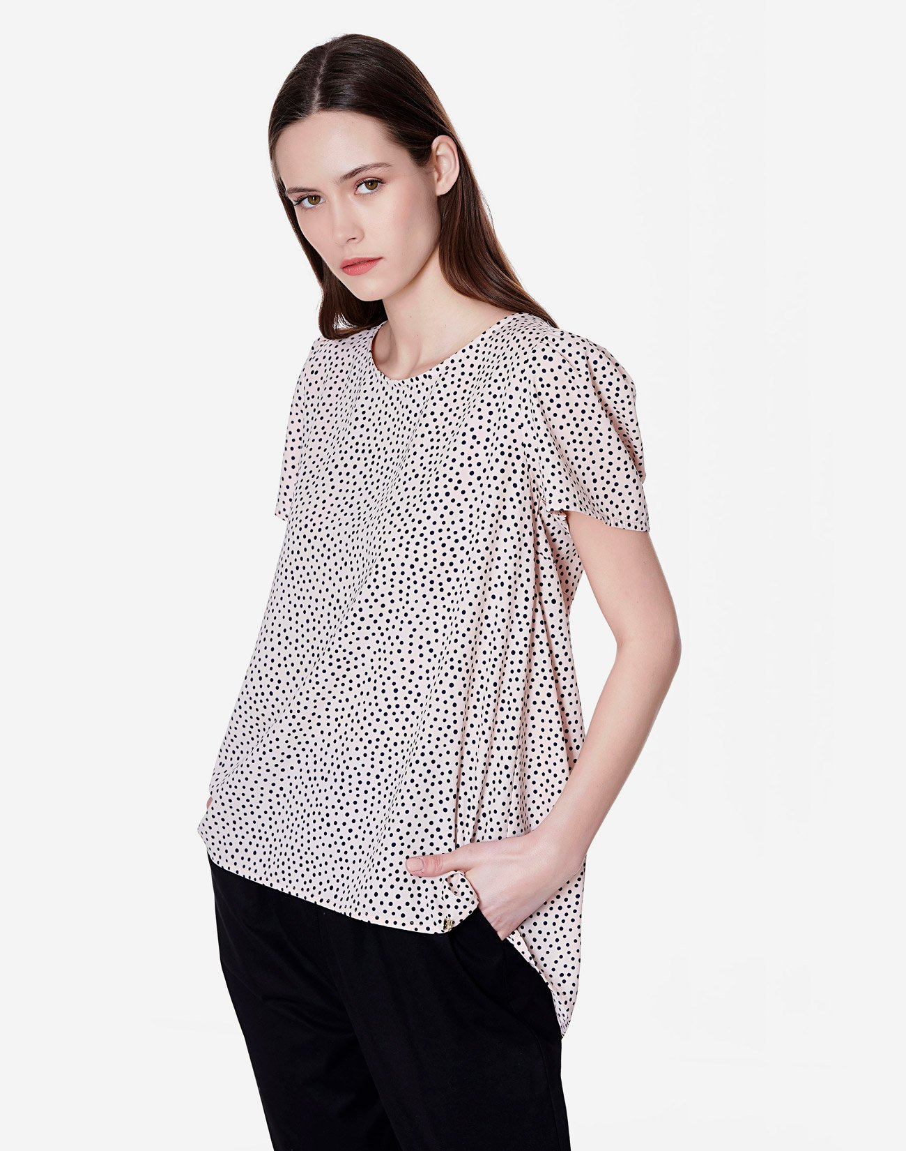 Polka dot top with bow