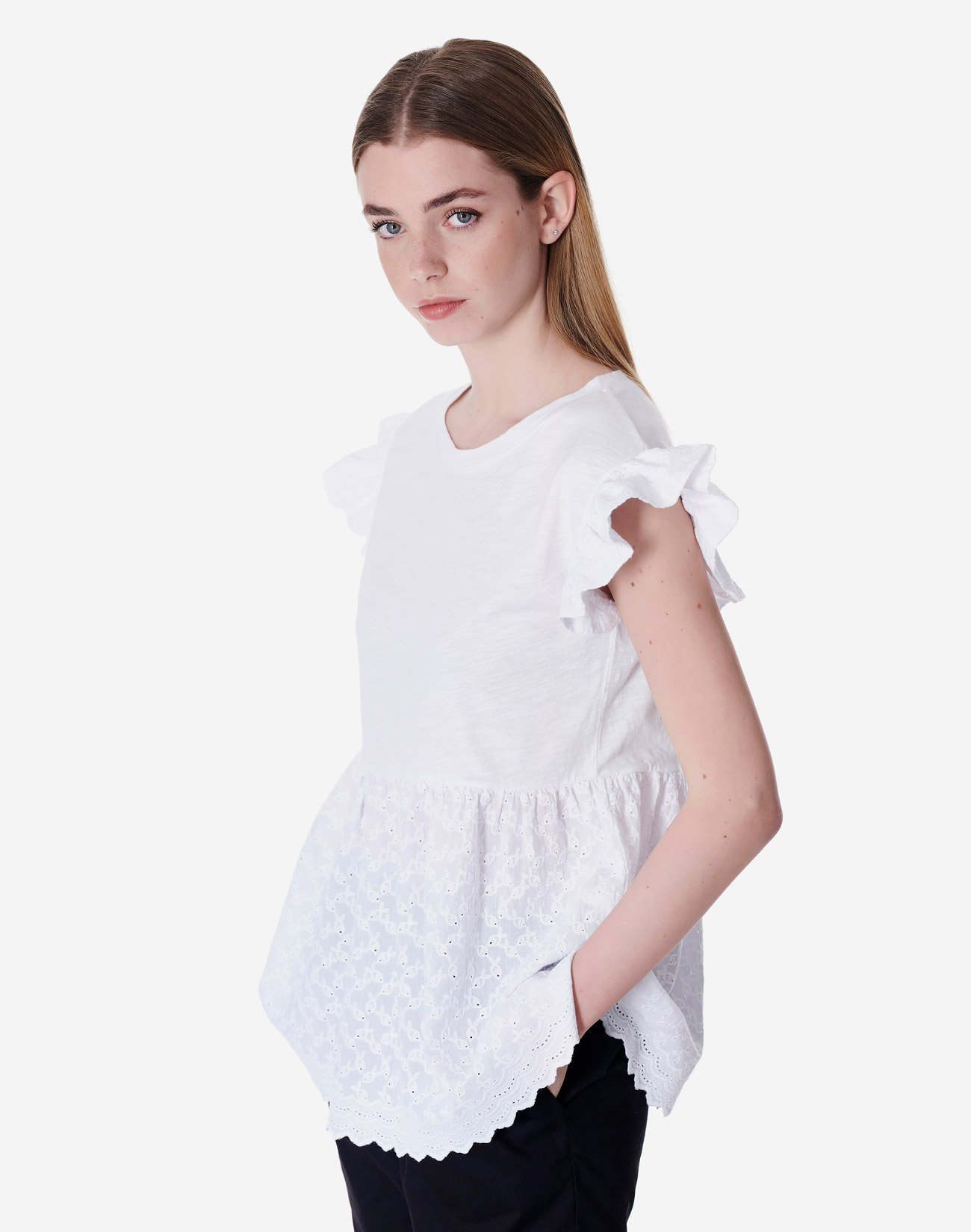 Top with embroidered detail