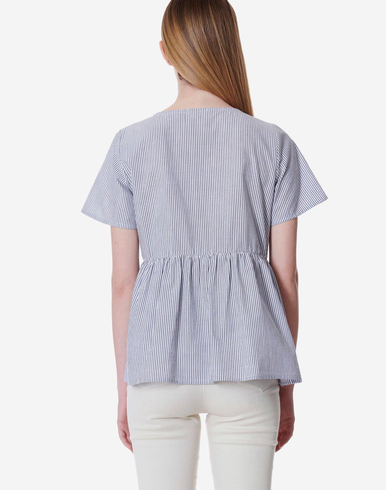 Ριγέ μπλούζα peplum οργανικό βαμβάκι