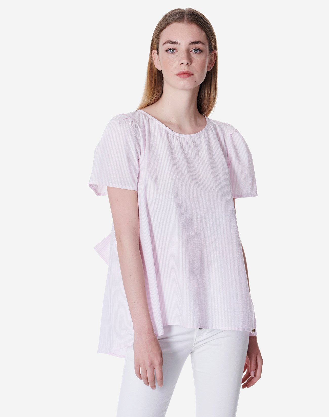 Ριγέ μπλούζα οργανικό βαμβάκι με φιόγκο